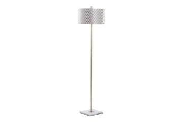 LAMPARA DE SUELO METAL DORADA-BLANCA 40x40x165 CM