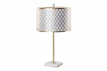 LAMPARA SOBREMESA METAL DORADA-BLANCA 35x35x60 CM