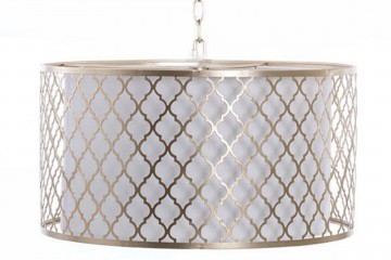 LAMPARA DE TECHO METAL DORADA-BLANCA 45x45x149 CM