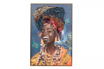 CUADRO AFRICANA TURBANTE C/RELIEVE 80x3,5x120 CM