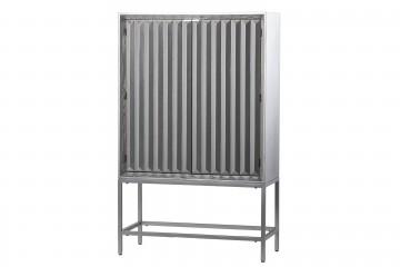 CABINET ALTO MADERA-METAL CHAMPAGNE 100x45x160 CM