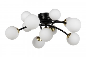 LAMPARA TECHO METAL CRISTAL NEGRO 60x60x20 CM